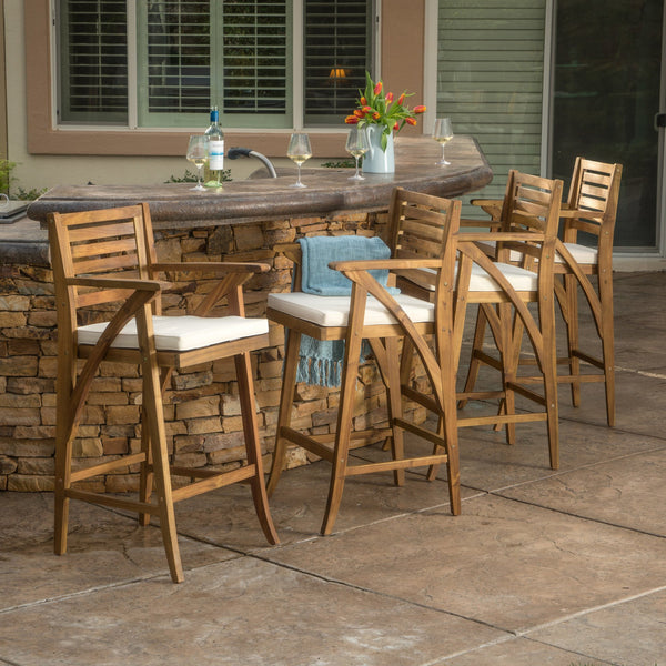 Hensley Teak Finish Acacia Wood Outdoor Barstool (Set Of 2)