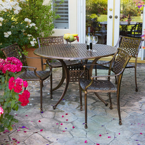 817056010057 Sierra Cast Aluminum Outdoor Dining Set in Copper Finish Full View Outdoors