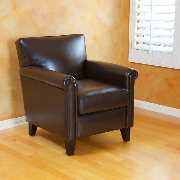 817056010927 Bayview Classic Brown Bonded Leather Club Chair Full View in Room