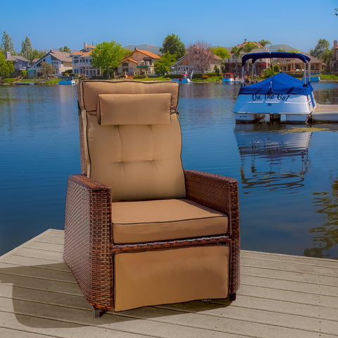 Brayden Wicker Outdoor Recliner Rocking Chair