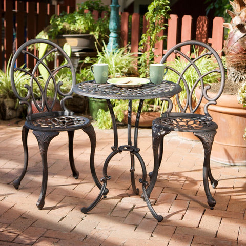 817056012495 Hayden Bronze Aluminum Bistro Set Full View Outdoor
