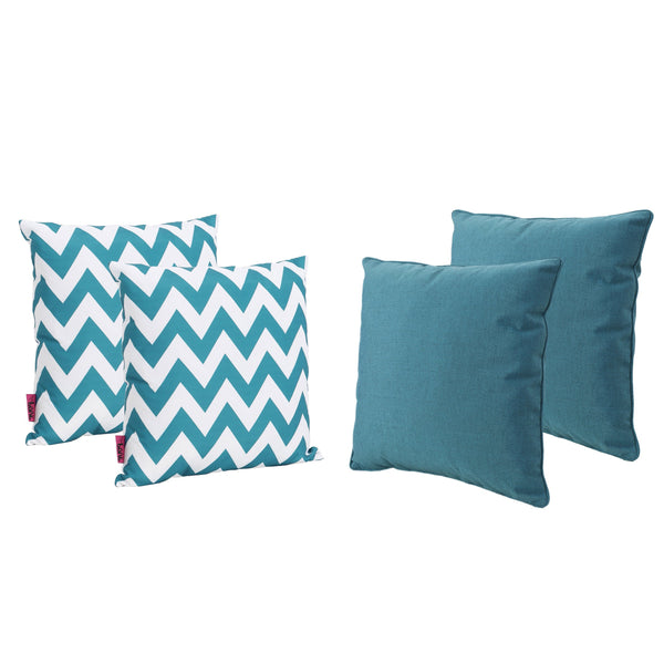 Marina Outdoor Solid And And Chevron Water Resistant Square Throw Pillows (Set Of 4)