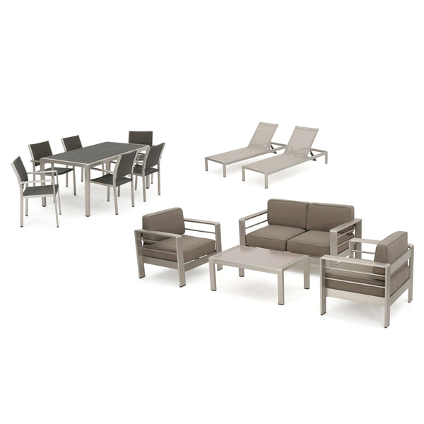 Canobie Outdoor Wicker Dining Set With Chat Set And Lounges