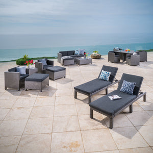 Preston Outdoor 17 Piece Mixed Wicker Patio Set With Water Resistant Cushions