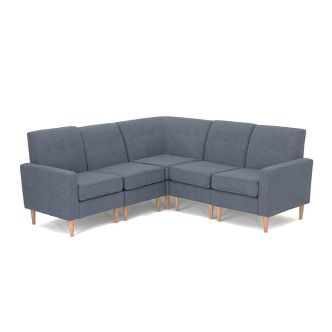 Saunder Mid Century Modern 5 Piece Fabric Sectional Sofa Set