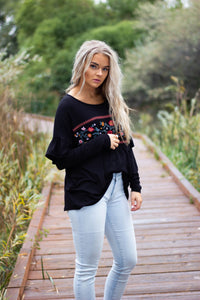 Taryn embroidered top - black
