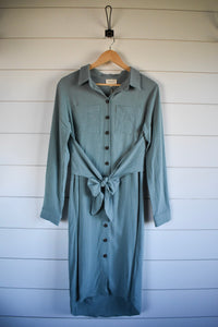 Holly tie dress - dusty jade