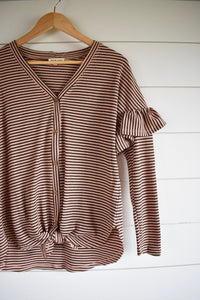 Stevie stripe tie top - brown/pink