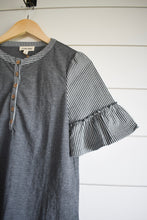 Load image into Gallery viewer, Winnie bell sleeve henley - grey