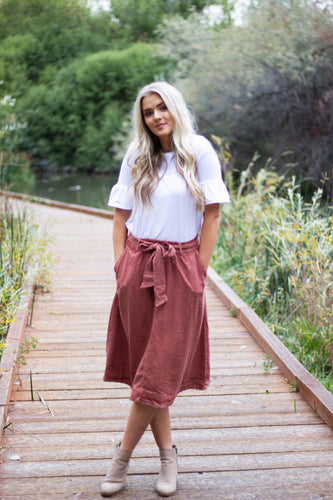 Gracie distressed skirt - brick