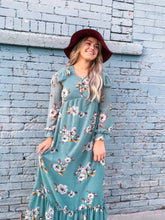 Load image into Gallery viewer, Juniper floral dress - sage