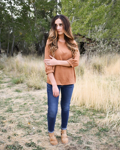 Farah button back top - camel