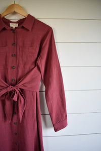 Holly tie dress - marsala