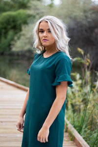 Ivy flutter sleeve dress - emerald