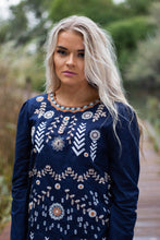 Load image into Gallery viewer, Emery embroidered top - navy