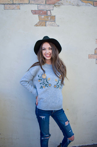 Hazel embroidered sweater - grey