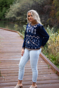 Emery embroidered top - navy