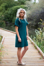 Load image into Gallery viewer, Ivy flutter sleeve dress - emerald