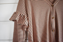 Load image into Gallery viewer, Stevie stripe tie top - brown/pink