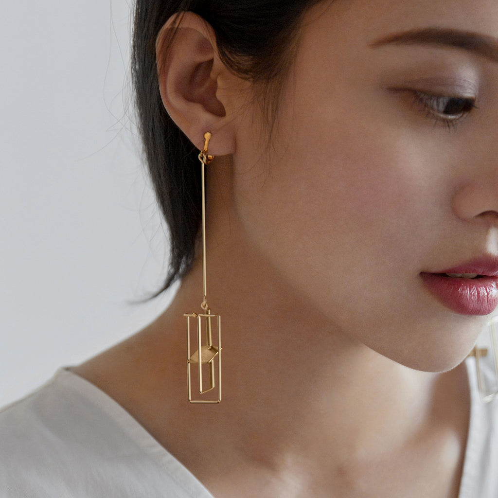 Geo Architectural Drop Earrings (Quick to ship) - AHED Project