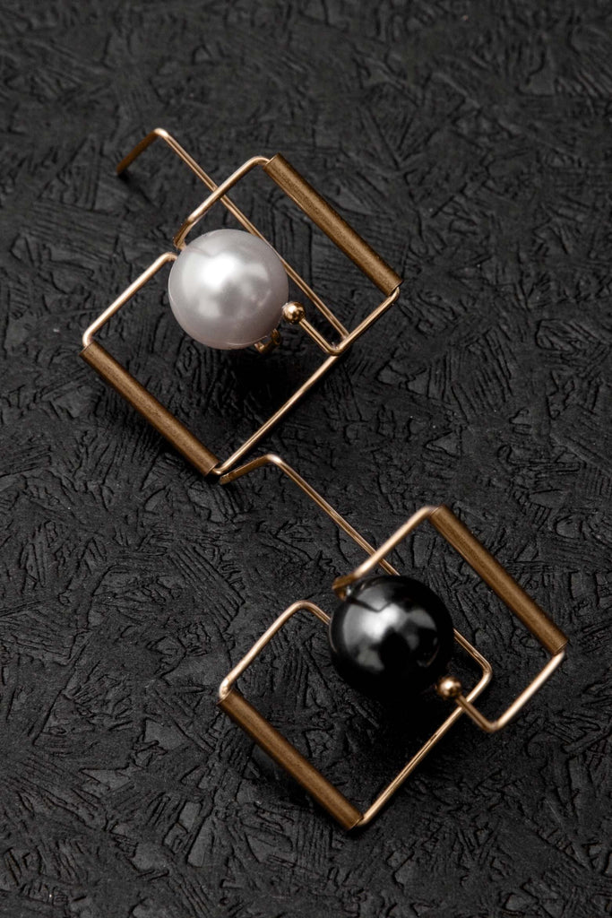 Architectural  Black & White Earrings