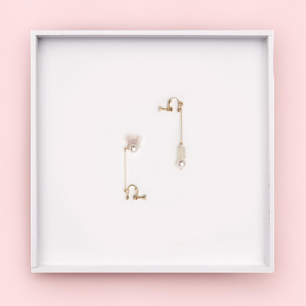 Jolly Asymmetrical Pearl Drop Earrings (Quick to ship) - AHED Project