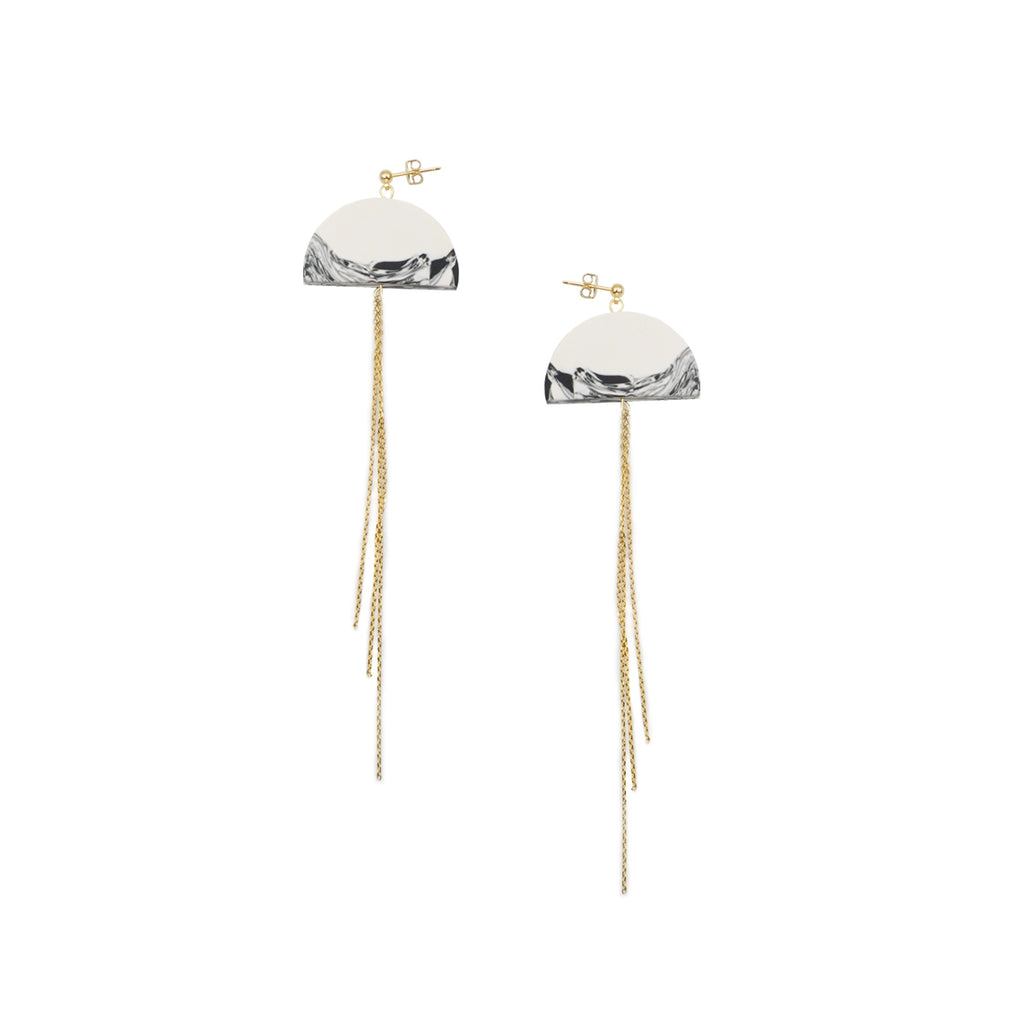 Poetic Mountain and Moon Studs Tassel Drop Earrings - AHED Project