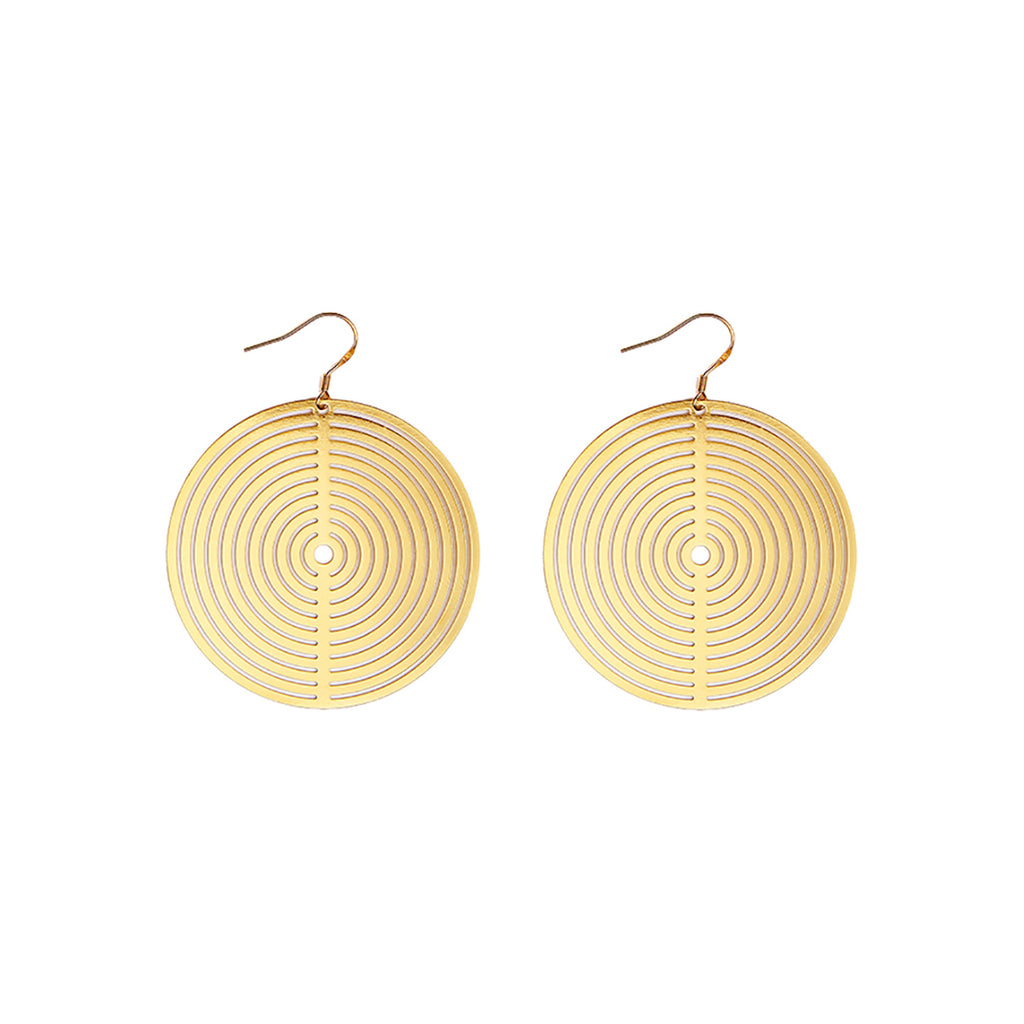 Statement Carved-Out Disc Drop Earrings