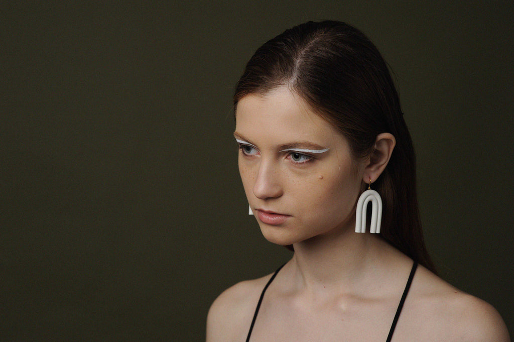 Minimalist White Arch Drop Earrings