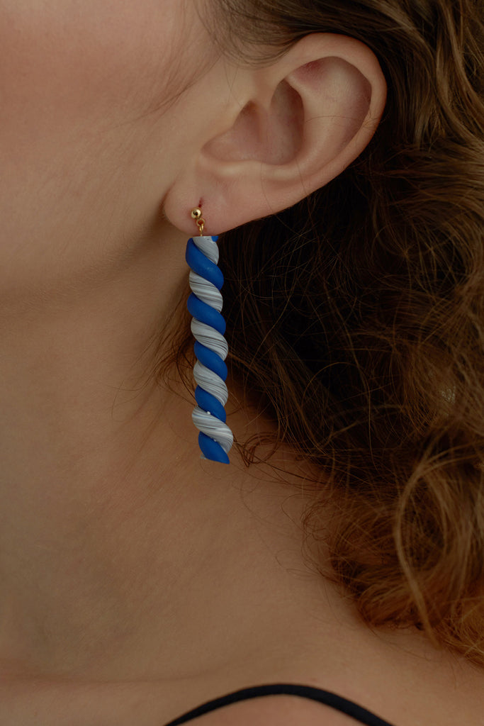 Dual Tone Twisted Bar Drop Earrings (Pre-order) - AHED Project