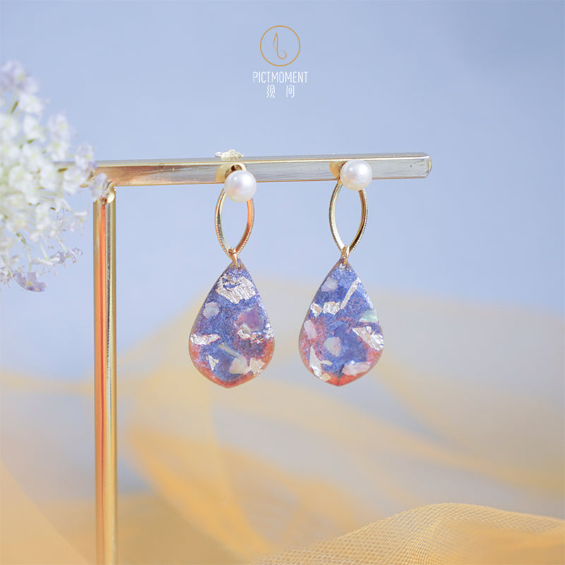 Coral Sea Series Hand-Painted Pearl Drop Earrings - AHED Project