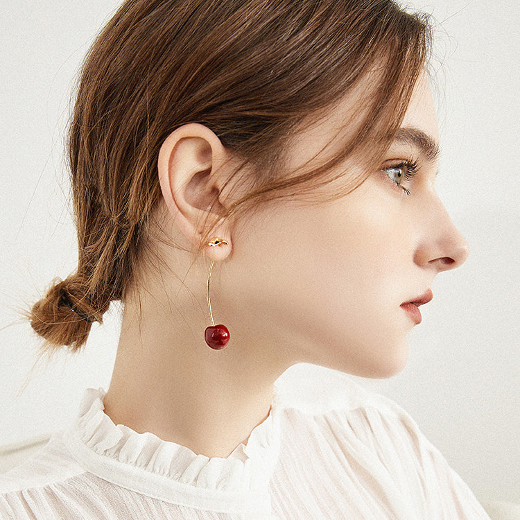 Cold Enamel Red Cherry Drop Earrings