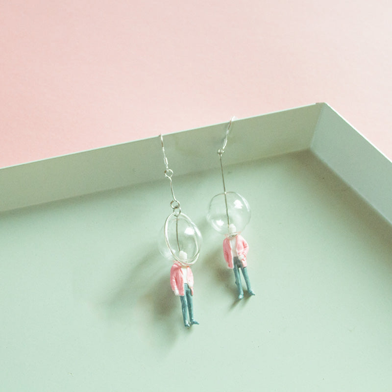 Glass Ball Figure in Pink Suit Drop Earrings
