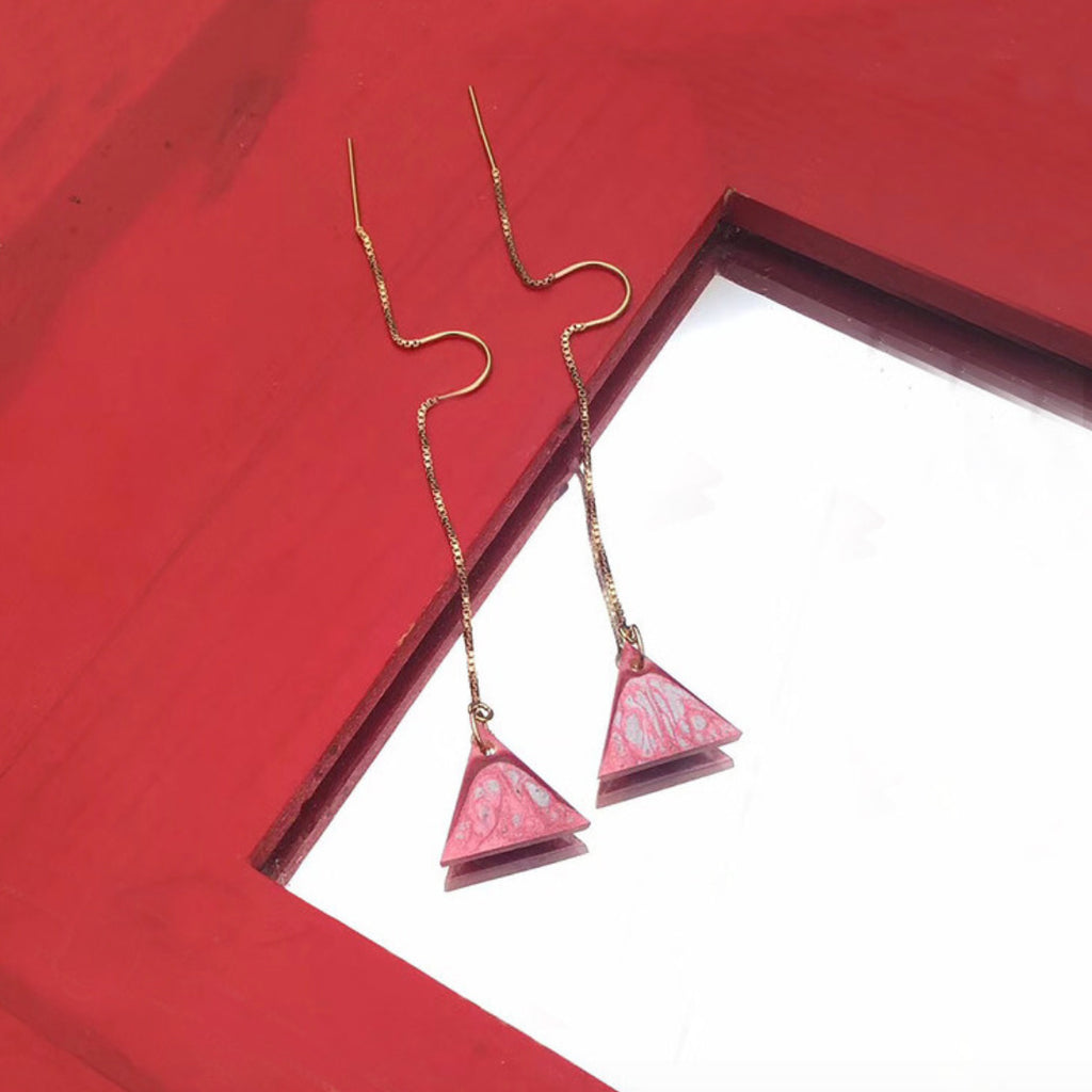 Hand-Painted Triangle Drop Threader Earrings - AHED Project