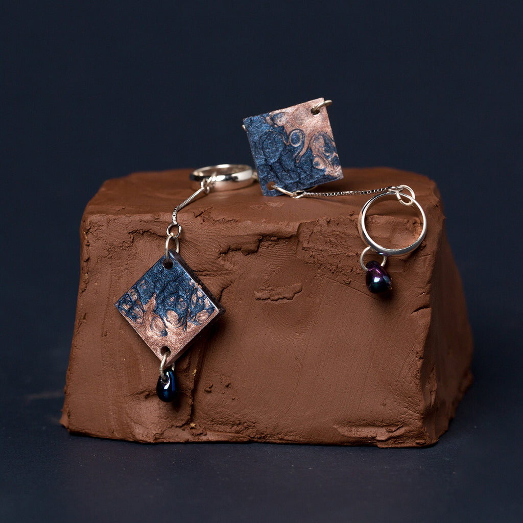 Asymmetrical Hand Painted Square Drop Earrings - AHED Project
