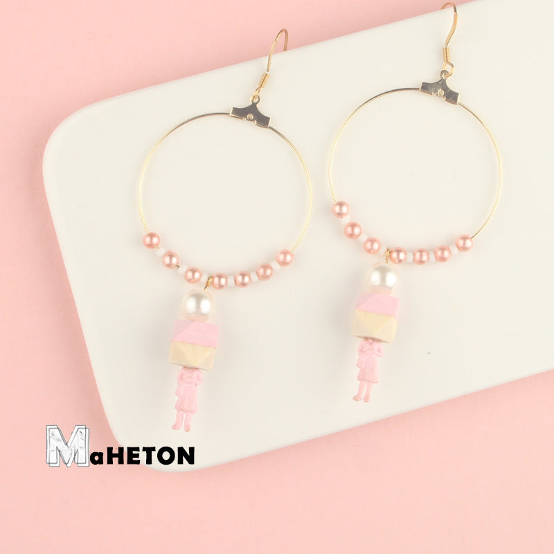 Block Head Figure Drop Hoop Earrings - AHED Project
