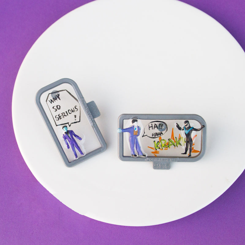 Engaging Conversation Comic Frame Stud Earrings - AHED Project