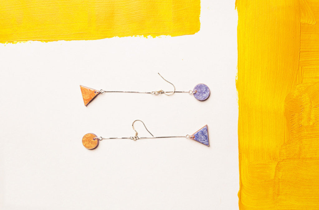 Hand-Painted Geometric Dual Tone High-Low Dangle Earrings