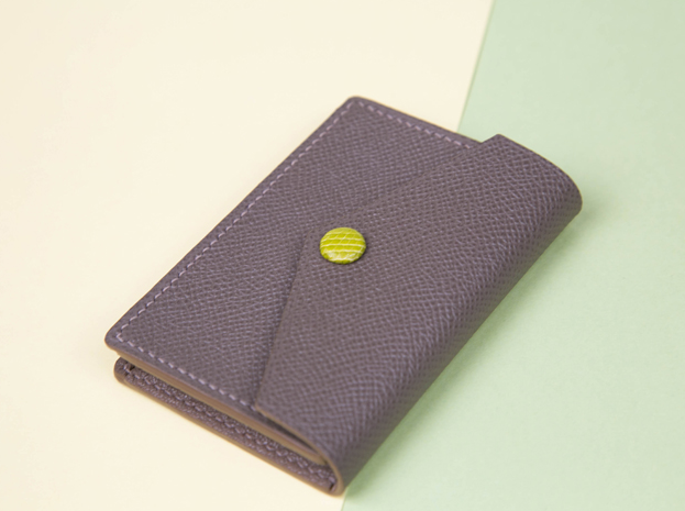 Timeless Handmade Card Holder - Luxurious Epsom Leather In Elephant Grey