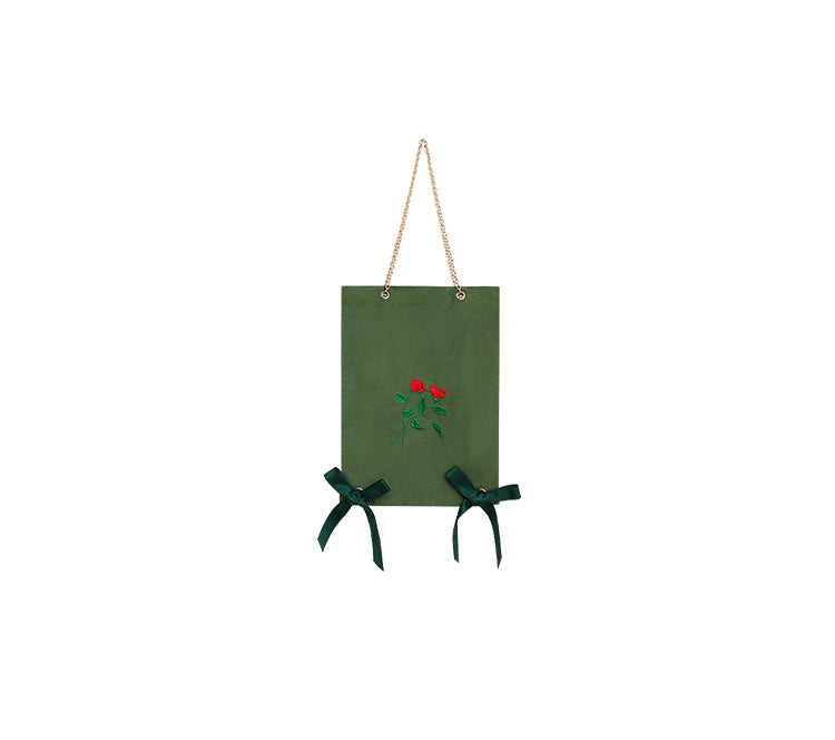 Doll Series - Green Bow Knot Chain Strap Canvas Tote Bag - AHED Project