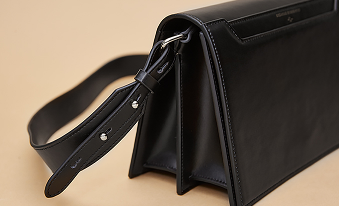 Structured Double Compartment Crossbody Leather Bag - Black