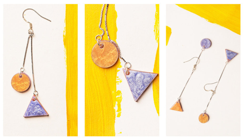 Hand-Painted Geometric Dual Tone High-Low Dangle Earrings - AHED Project
