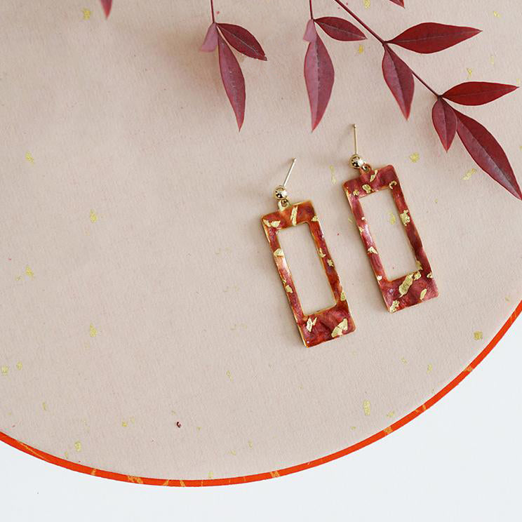Retro Red Cutout Rectangle Inlaid Gold Stud Drop Earrings