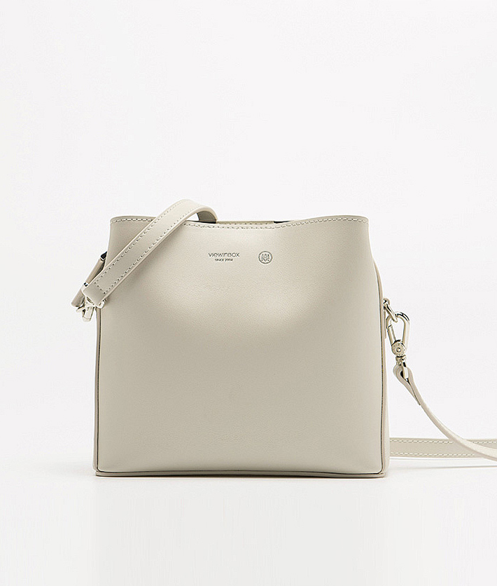 Soft Tone Simple Classic Spacious Crossbody Bag - Birch White