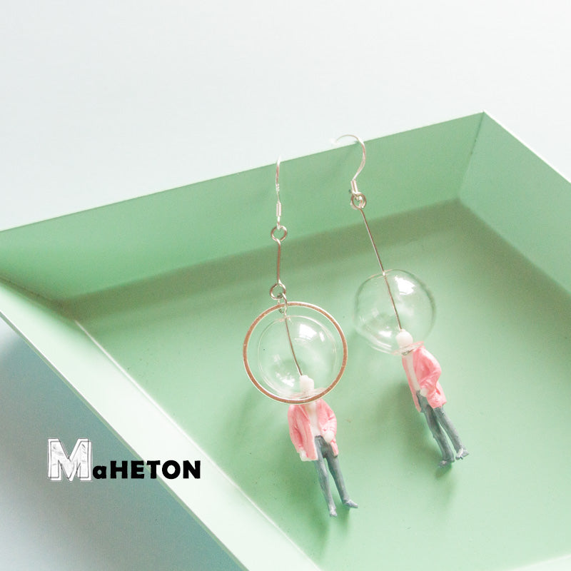 Glass Ball Figure in Pink Suit Drop Earrings - AHED Project