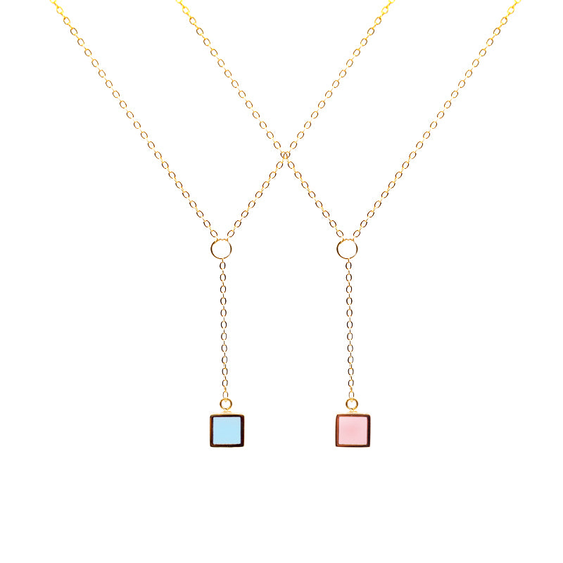 14K Gold filled Y-Shape Cube Necklace - Blue/Pink - AHED Project