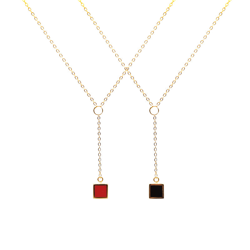 14K Gold filled Y-Shape Red Cube Necklace