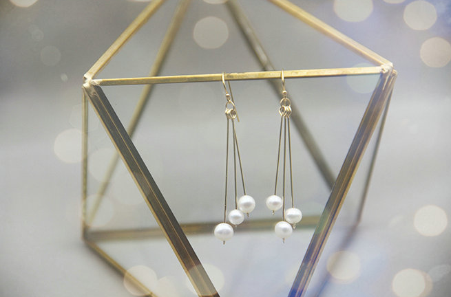 14K Gold Filled Suspended Bars Pearl Drop Earrings - AHED Project