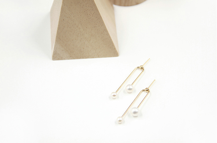 Delicate 14K Gold Filled U Shape Pearl Earrings - AHED Project