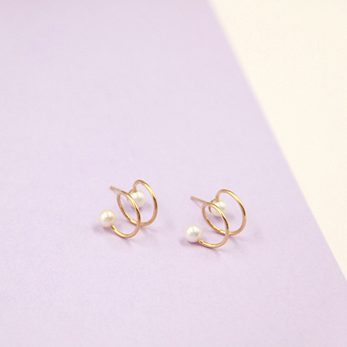 Delicate 14K Gold Filled Spiral Pearl Earrings - AHED Project